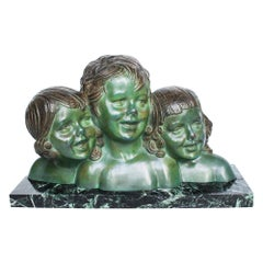 "Demétre Chiparus ""Three Girls"" signed Bronze Sculpture Set on a Marble Base"