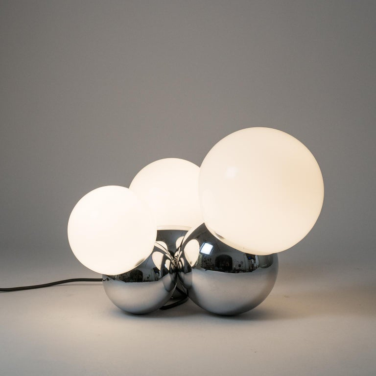 Italian Three Globe Chrome Table Lamp by Reggiani, 1960s For Sale