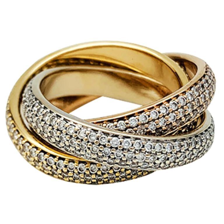 "Three Golds Cartier ""Trinity"" Ring, Diamonds"