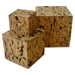 Three Graduated Display Box Side Tables Covered in Highly Sustainable Cork