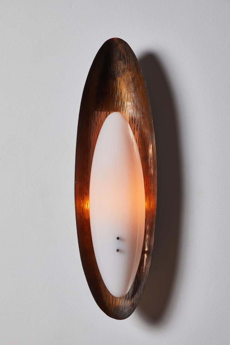 Three Hammered Copper Sconces by Reggiani For Sale 1