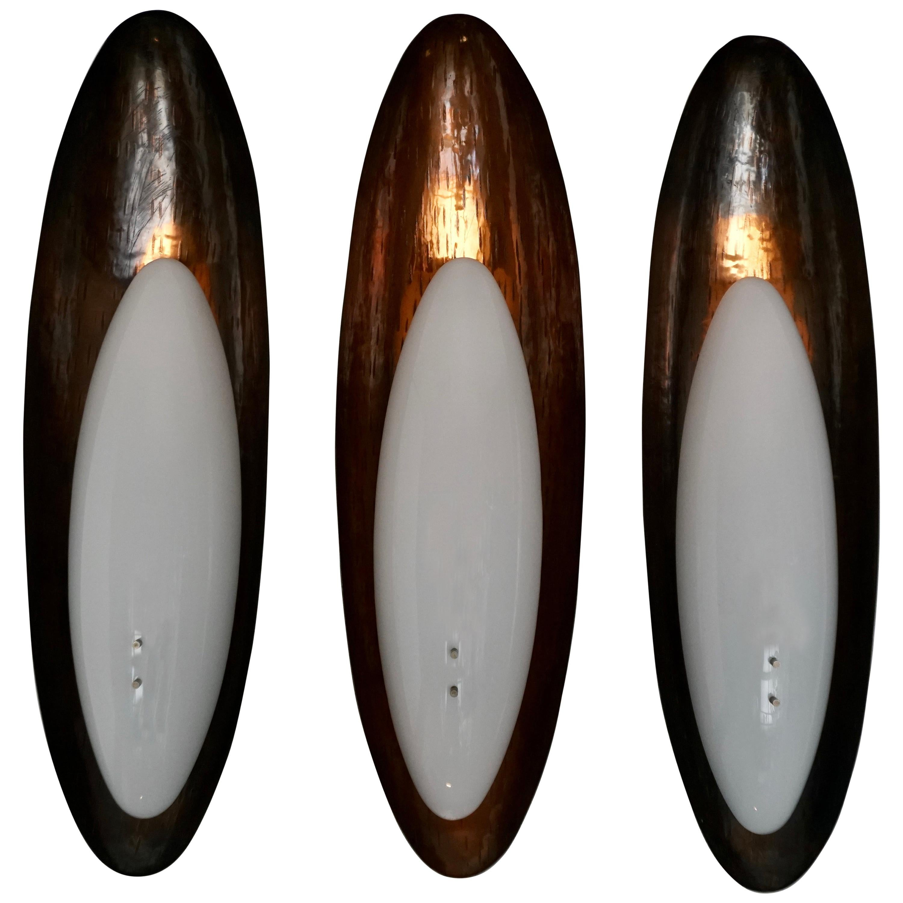 Three Hammered Copper Sconces by Reggiani