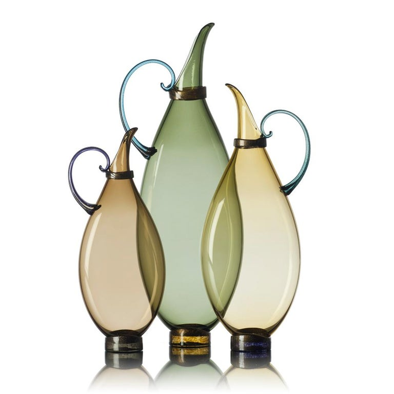 American Three Hand Blown Glass Pitcher Vases by Vetro Vero, Custom Colors For Sale