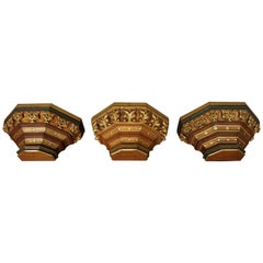 Three Hand Carved & Gilt Gothic Revival Church Wall Brackets for Saint Sculpture