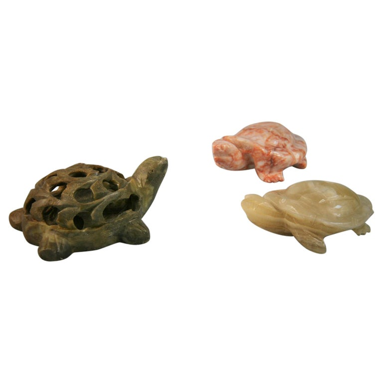 Three Hand Carved Marble Folk Art Turtles For Sale