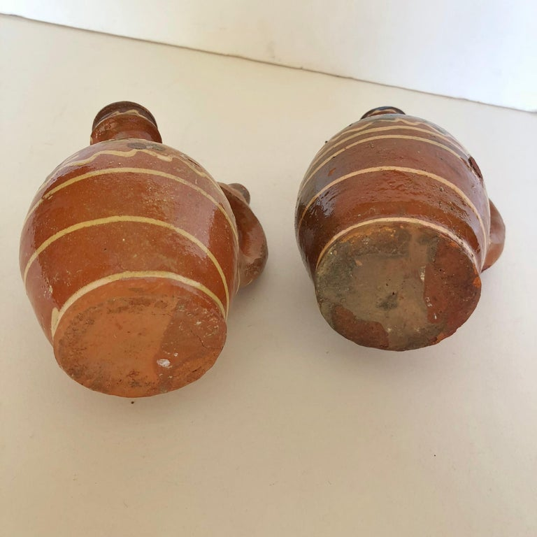 Group of Three Terracotta Pottery Folk Art Carafes from Transylvania, Serbia For Sale 5