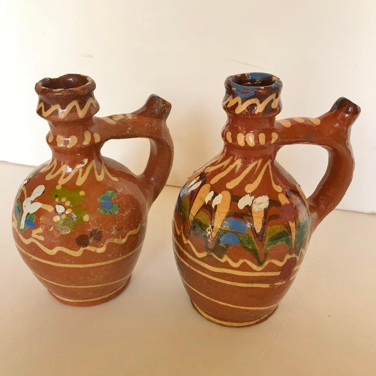 Group of Three Terracotta Pottery Folk Art Carafes from Transylvania, Serbia For Sale 6