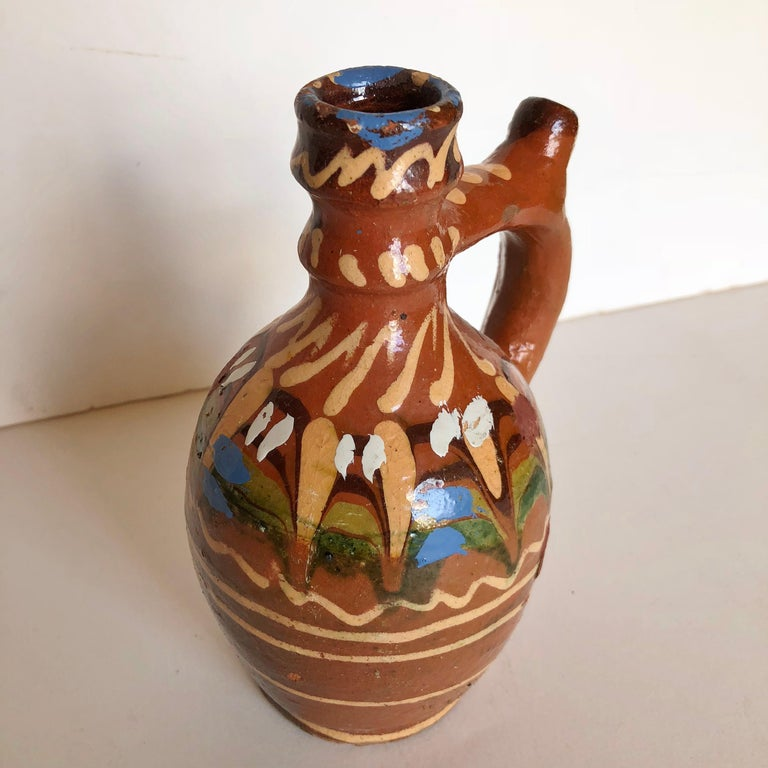 Hand-Crafted Group of Three Terracotta Pottery Folk Art Carafes from Transylvania, Serbia For Sale