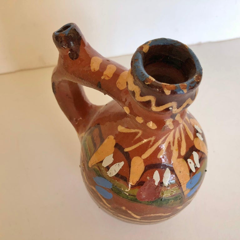 Group of Three Terracotta Pottery Folk Art Carafes from Transylvania, Serbia In Good Condition For Sale In Glen Ellyn, IL