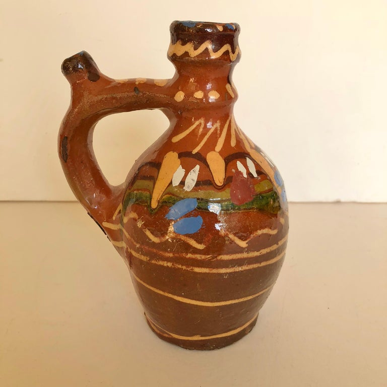 20th Century Group of Three Terracotta Pottery Folk Art Carafes from Transylvania, Serbia For Sale