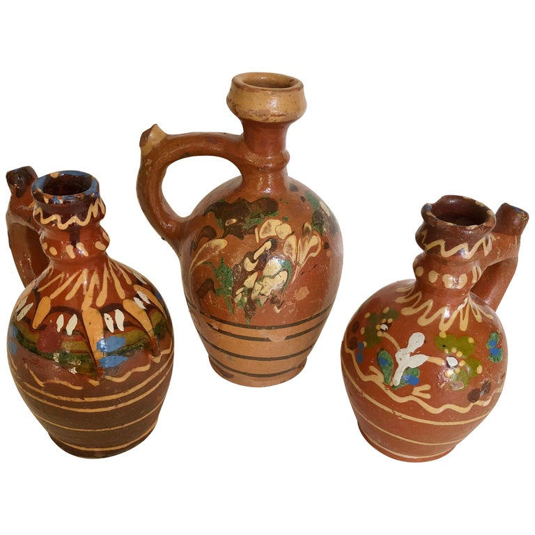 Group of Three Terracotta Pottery Folk Art Carafes from Transylvania, Serbia For Sale
