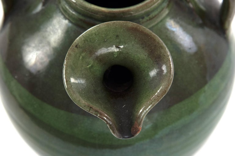 Three-handled French Green Baluster Jug with Spout In Good Condition For Sale In Salt Lake City, UT