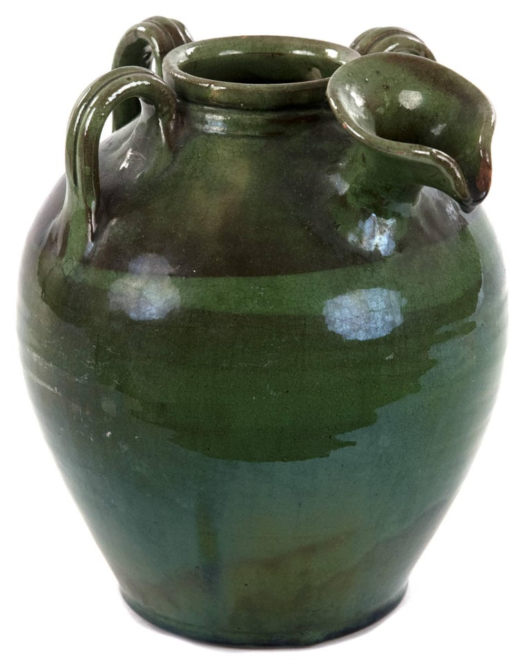 Three-handled French Green Baluster Jug with Spout For Sale 1