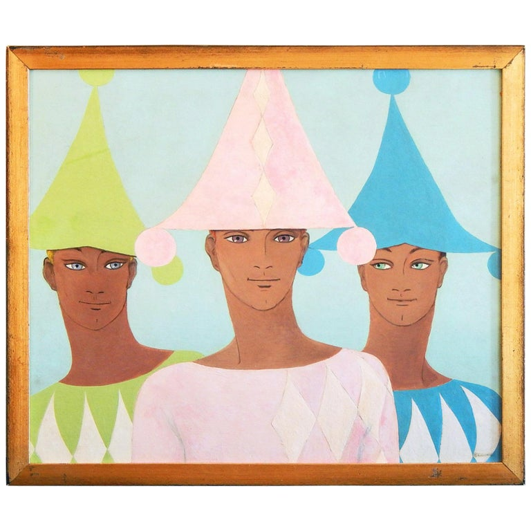 """""""Three Harlequins,"""" Midcentury Ptg. with Three Young Men in Pink, Blue & Green For Sale"""