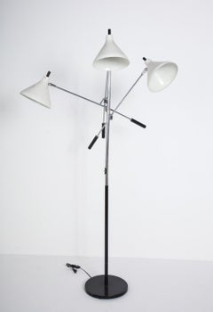 Three-Head White and Chrome Floor Lamp by Underwriters Laboratories, c. 1960