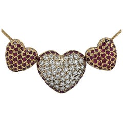 Three Heart Diamond and Ruby Necklace