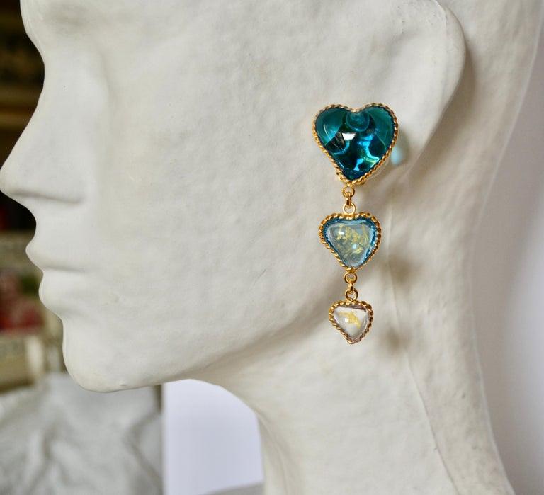 Women's or Men's Three Hearts Pate de Verre Clip Earrings For Sale