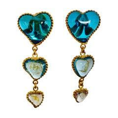 Three Hearts Pate de Verre Clip Earrings