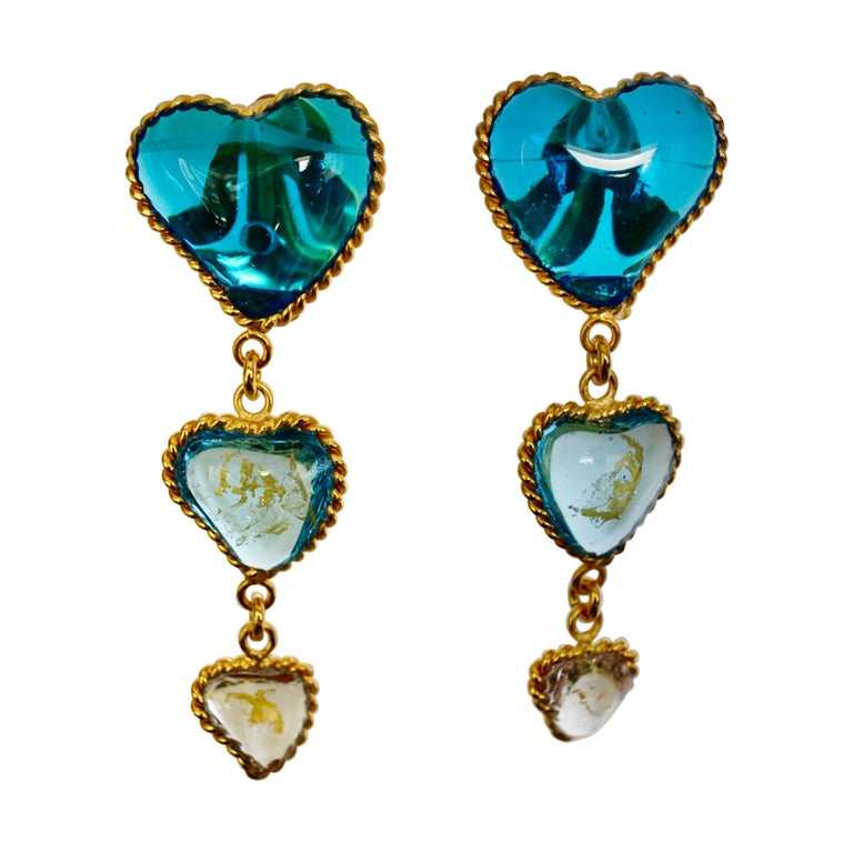 Three Hearts Pate de Verre Clip Earrings For Sale
