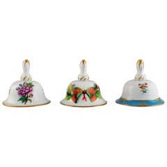 Three Herend Table Bells in Hand-Painted Porcelain with Flowers, 1980's