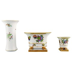 Three Herend Vases in Hand Painted Porcelain with Flowers and Gold Decoration