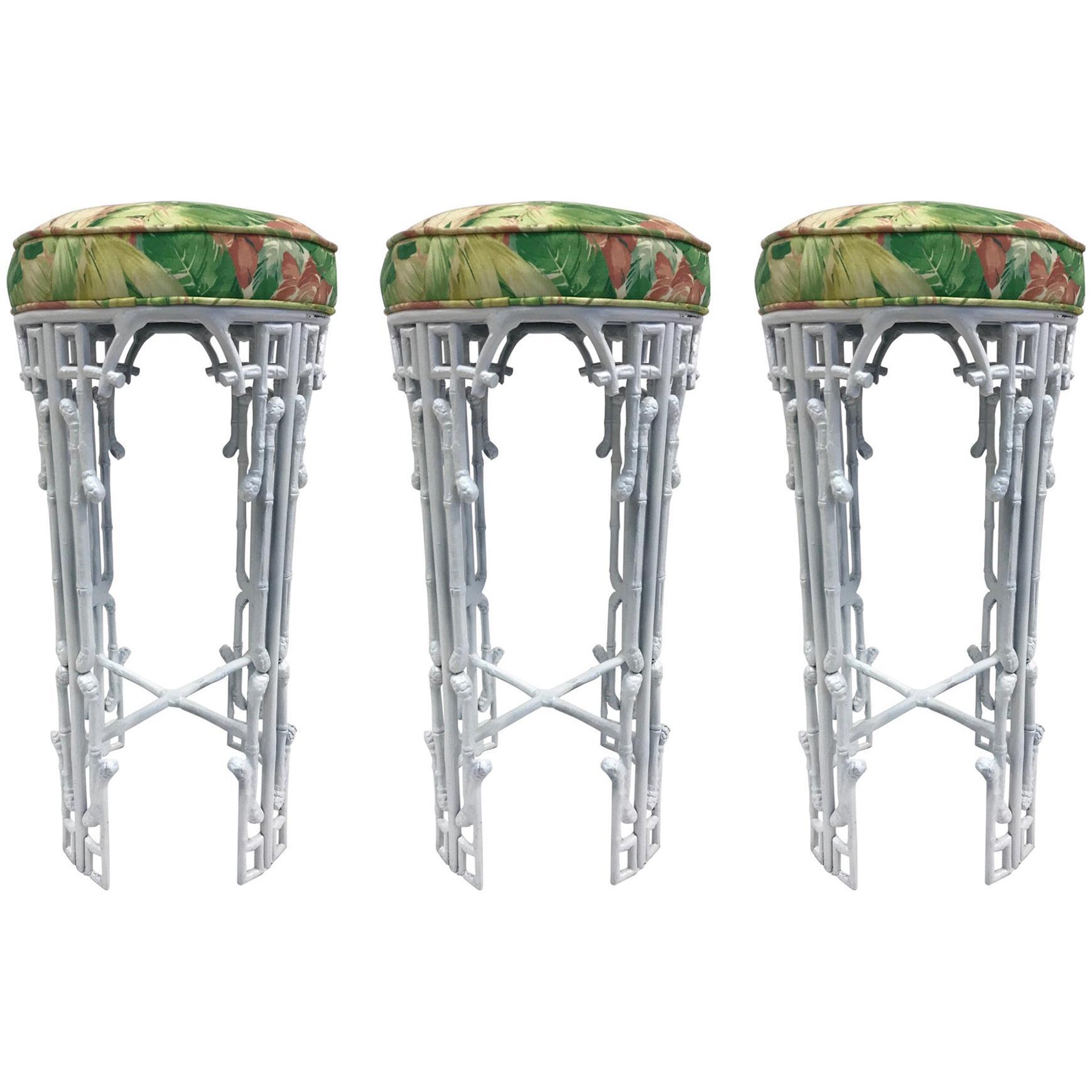 Three Hollywood Regency Faux Bamboo Bar Stools