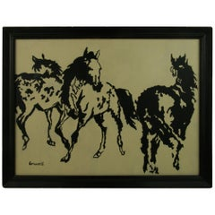 Three Horses Equestrian Painting By Brunelli