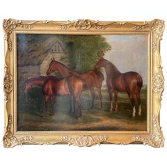 """Three Hunters by a Dovecot"" by E. Tolley / Signed & Dated 1872."