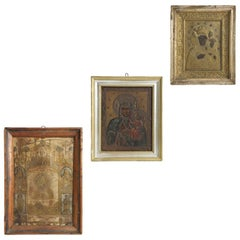 Three Icons Depicting the Virgin Mother and Rood Screen, 19th Century