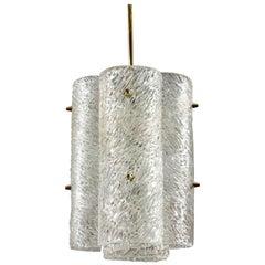 Three Impressive Large J. T. Kalmar Textured Glass and Brass Chandeliers