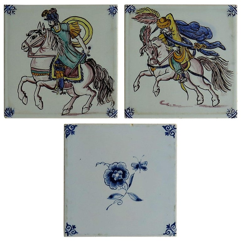 Three Individual Ceramic Delft Wall Tiles Horsemen and Flowers, Mid-20th Century For Sale