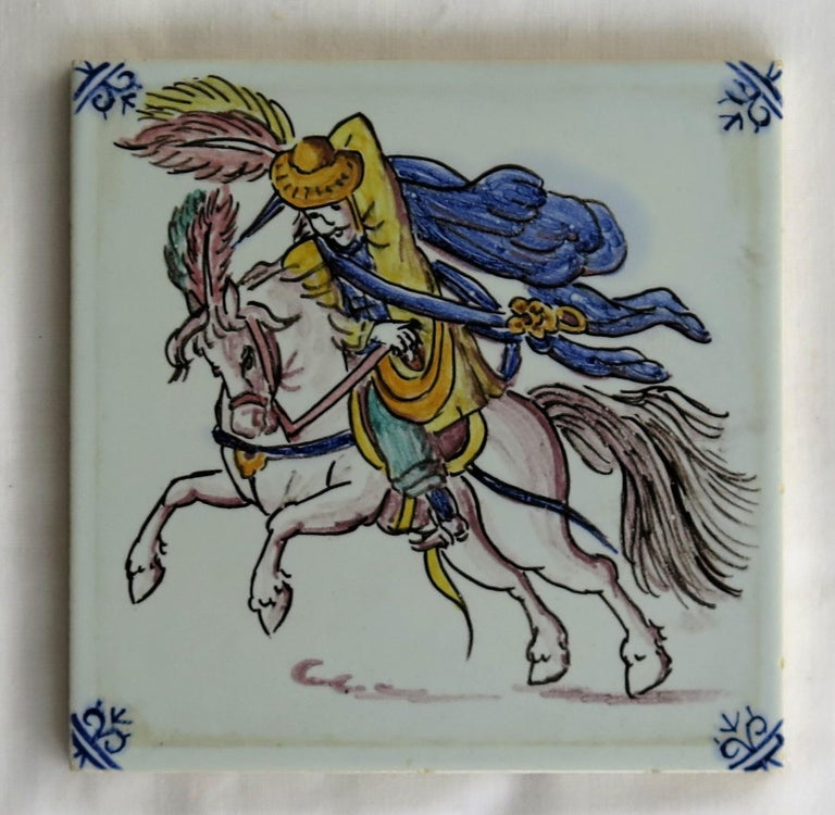 Three Individual Ceramic Delft Wall Tiles Horsemen and Flowers, Mid-20th Century For Sale 5