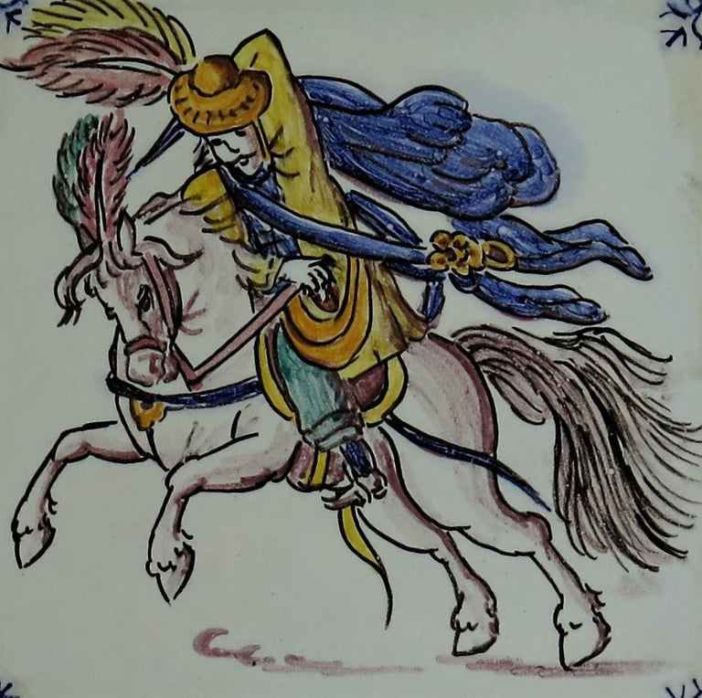 Three Individual Ceramic Delft Wall Tiles Horsemen and Flowers, Mid-20th Century For Sale 6