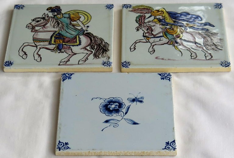 Dutch Colonial Three Individual Ceramic Delft Wall Tiles Horsemen and Flowers, Mid-20th Century For Sale