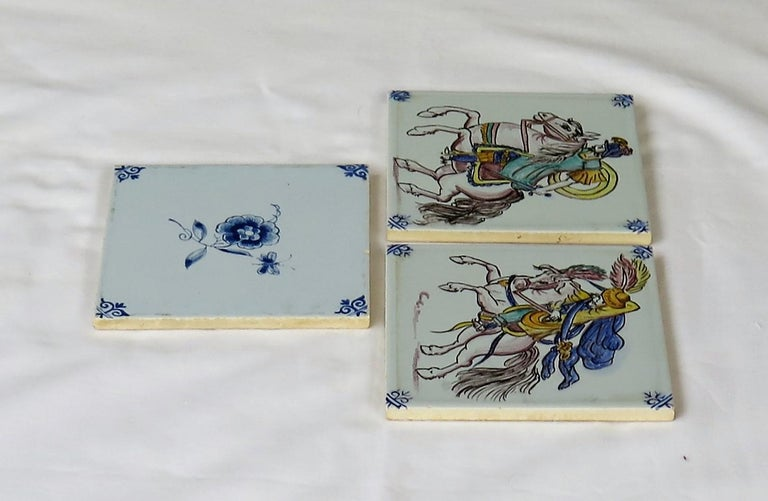 Dutch Three Individual Ceramic Delft Wall Tiles Horsemen and Flowers, Mid-20th Century For Sale
