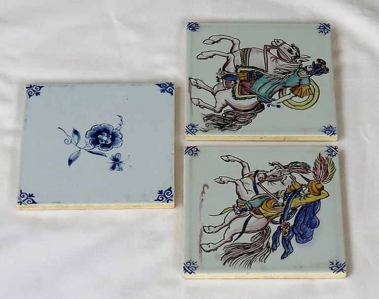 Hand-Painted Three Individual Ceramic Delft Wall Tiles Horsemen and Flowers, Mid-20th Century For Sale
