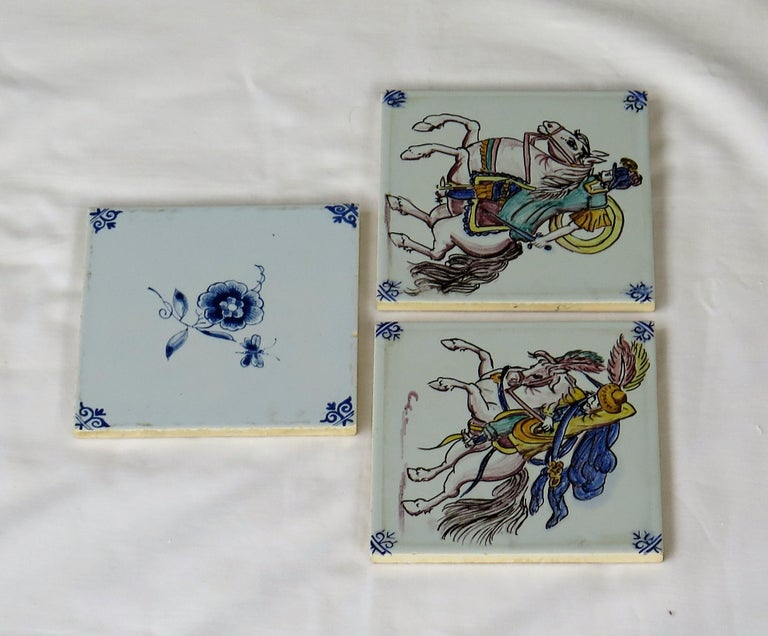 Three Individual Ceramic Delft Wall Tiles Horsemen and Flowers, Mid-20th Century For Sale 1