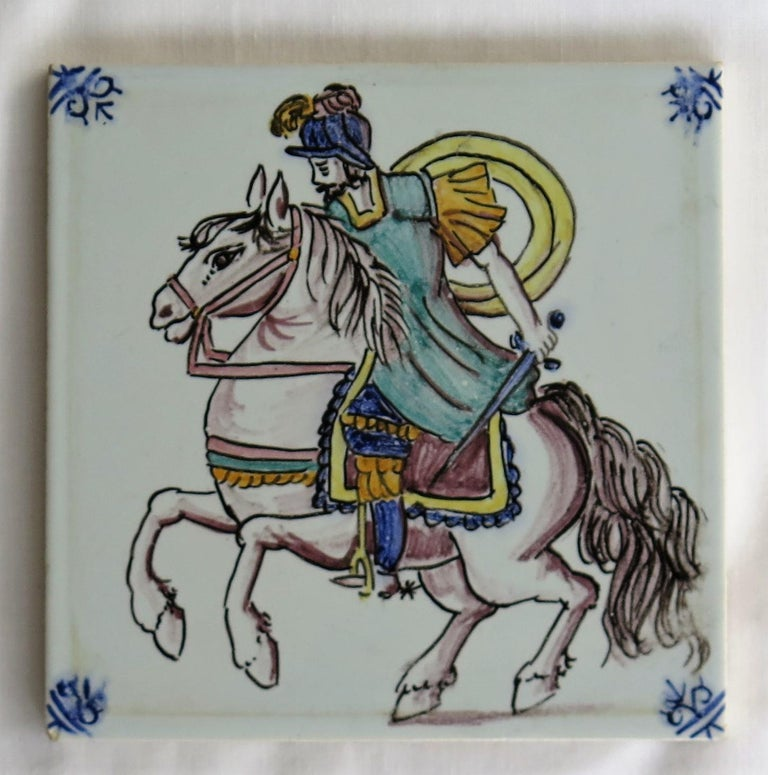 Three Individual Ceramic Delft Wall Tiles Horsemen and Flowers, Mid-20th Century For Sale 3
