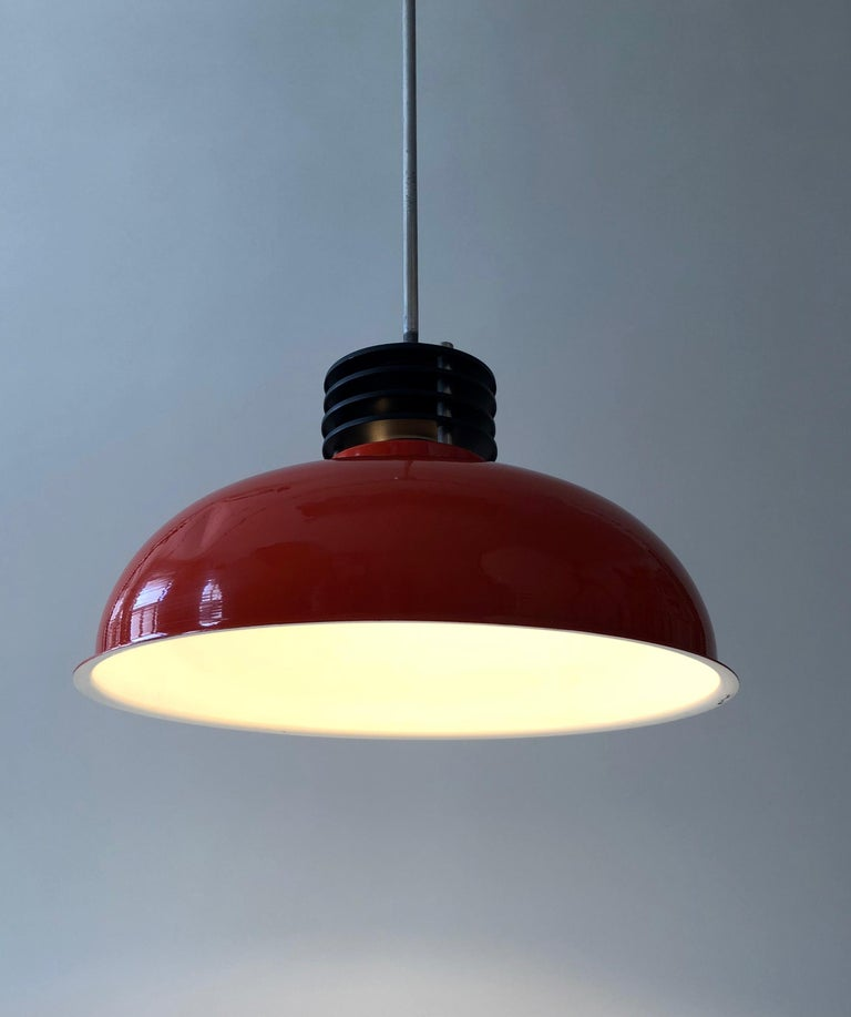 Three Industrial Styled Pendant Lamps from Hungary in Burnt Orange from the 70s For Sale 6
