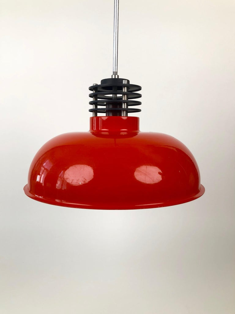 Late 20th Century Three Industrial Styled Pendant Lamps from Hungary in Burnt Orange from the 70s For Sale