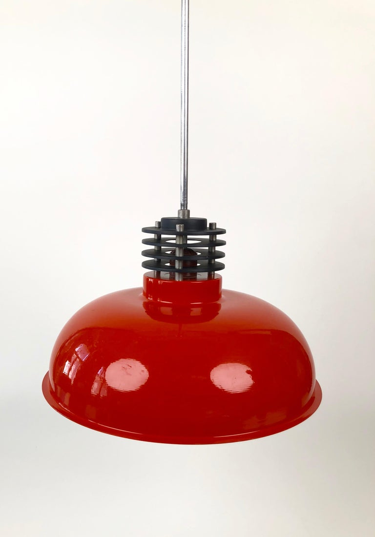 Three Industrial Styled Pendant Lamps from Hungary in Burnt Orange from the 70s For Sale 1