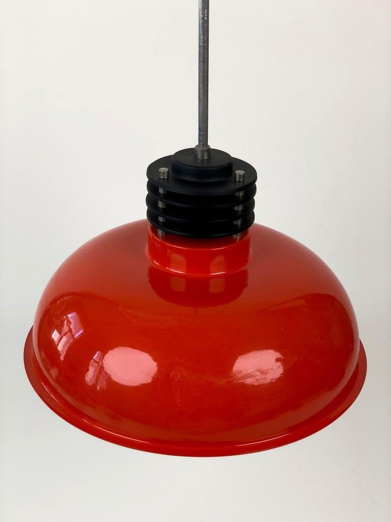 Three Industrial Styled Pendant Lamps from Hungary in Burnt Orange from the 70s For Sale 3