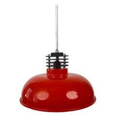 Three Industrial Styled Pendant Lamps from Hungary in Burnt Orange from the 70s