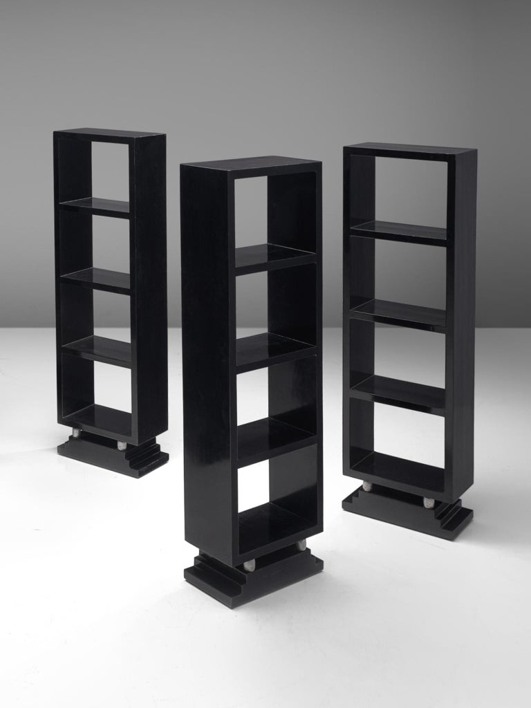 Mid-Century Modern Three Italian Black Bookcases, 1930s For Sale