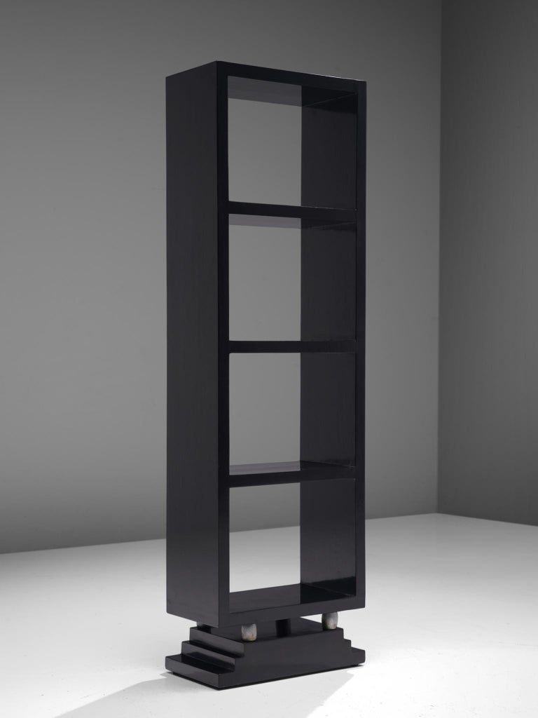 Lacquered Three Italian Black Bookcases, 1930s For Sale