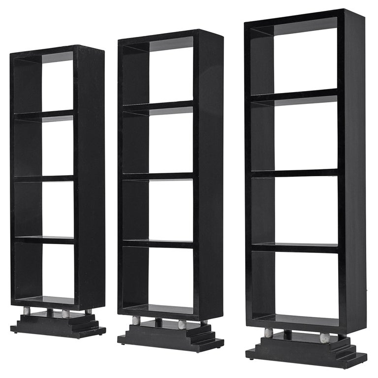 Three Italian Black Bookcases, 1930s For Sale