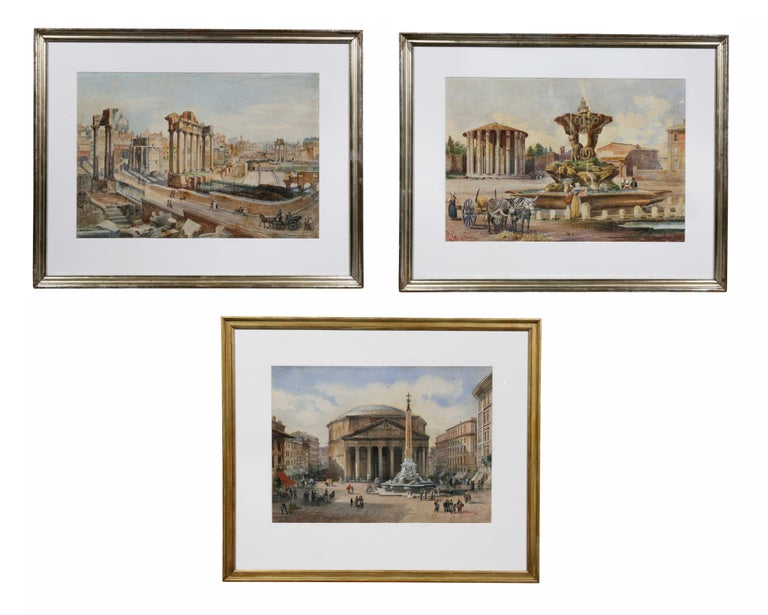 Nicely framed and newly matted. The pantheon, forum and temple of Hercules Victor.