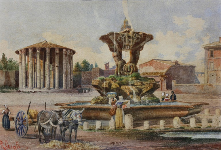 Grand Tour Three Italian Framed Watercolors of Scenes of Rome For Sale