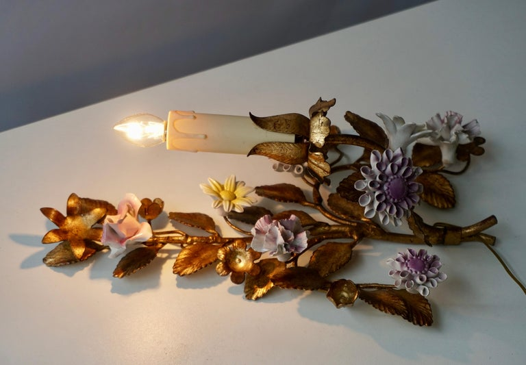 Three Italian Metal Wall Sconces with Porcelain Flowers For Sale 4