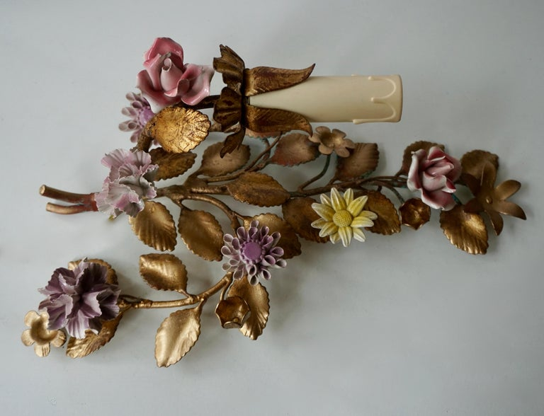 20th Century Three Italian Metal Wall Sconces with Porcelain Flowers For Sale